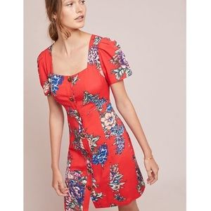 Anthropologie Maeve Caldwell Red Floral Dress